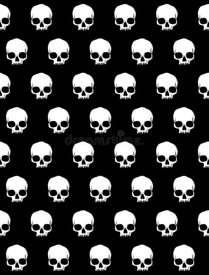 Straszna Halloweenowa ilustracja Biały Ludzki czaszka wektoru wzór ilustracji