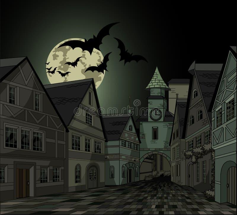 Straszna noc przy miasteczkiem ilustracja wektor