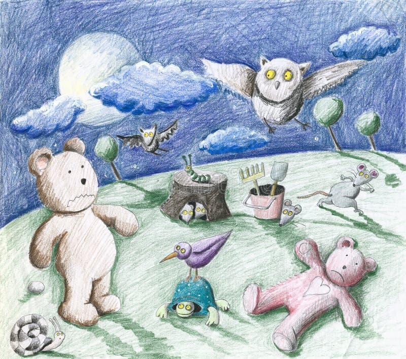 Straszna noc w ogródzie - zwierzęta i zabawki ilustracji