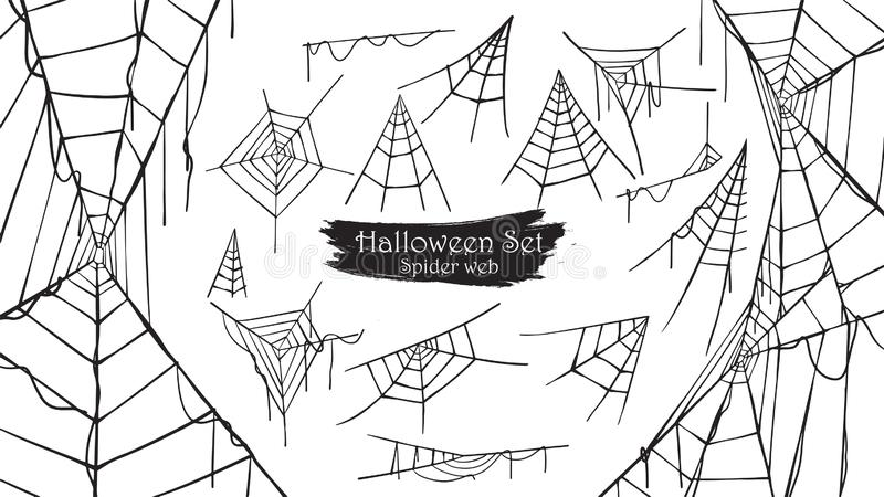 Straszna pająk sieci sylwetki kolekcja Halloweenowy wektoru isol royalty ilustracja