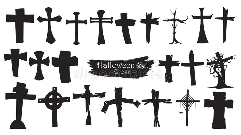 Straszna przecinająca cmentarniana sylwetki kolekcja Halloweenowy wektor royalty ilustracja