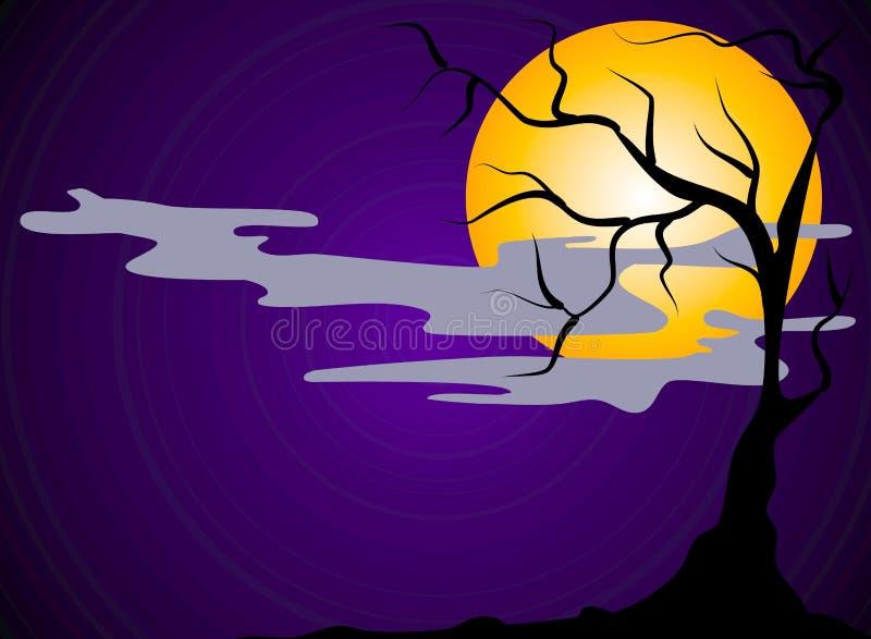 straszna scena noc halloween. ilustracji