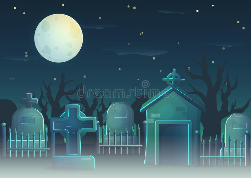 Straszne cmentarz rzeczy dla gemowego projekta ilustracja wektor