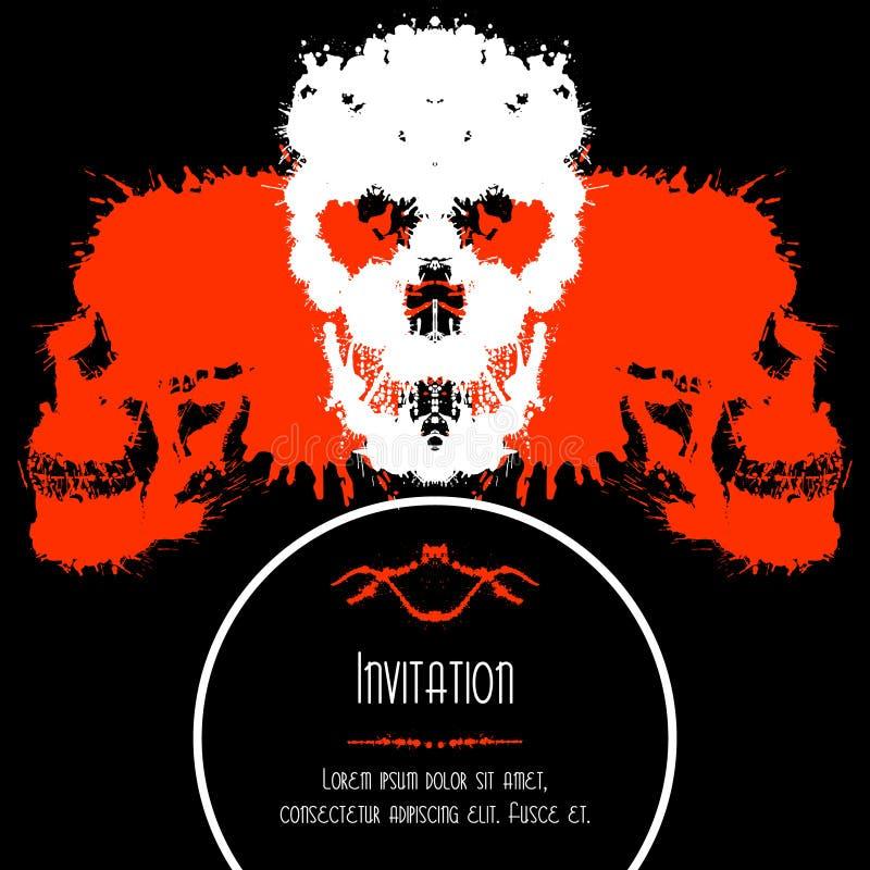 Straszne czaszki zaproszenie lub pocztówka dla Halloween royalty ilustracja