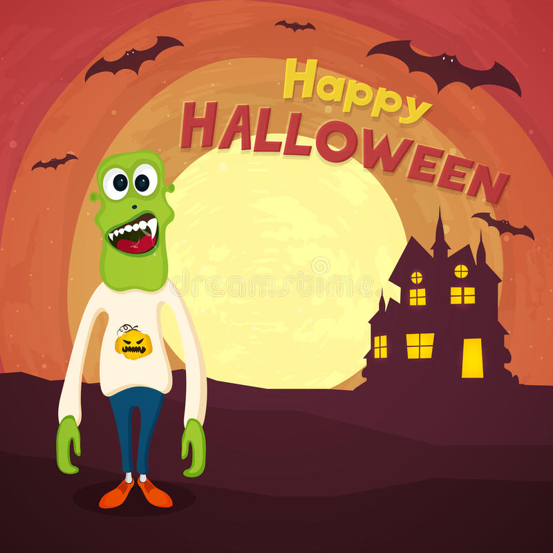 Straszny żywy trup dla Halloween przyjęcia świętowania royalty ilustracja