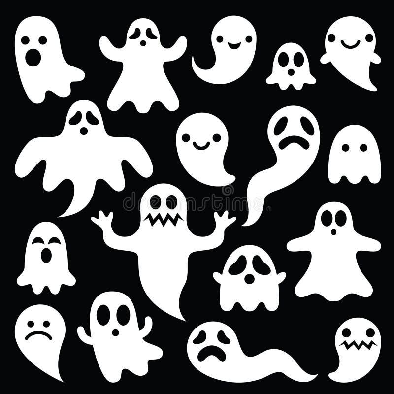 Straszny biały ducha projekt na czarnym tle - Halloweenowy świętowanie royalty ilustracja