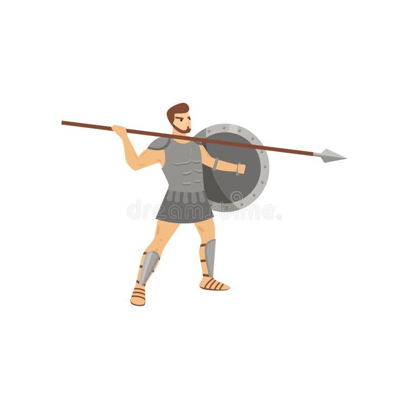 Straszny centurion z groźnym spojrzeniem w stalowym opancerzeniu iść rzucać dzidę odizolowywającą na białym tle ilustracja wektor