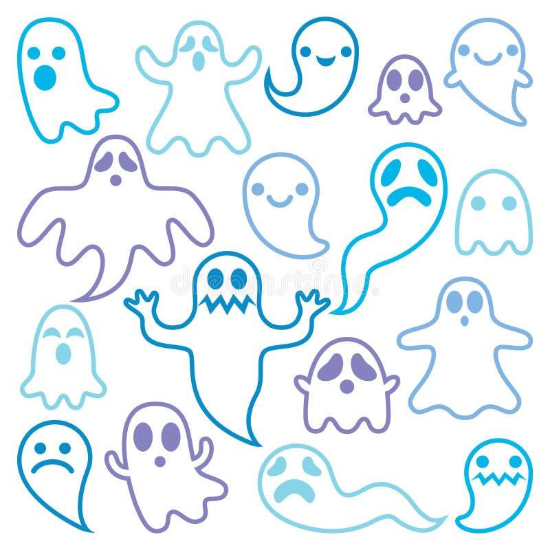 Straszny ducha projekt, Halloweenowe charakter ikony ustawiać royalty ilustracja