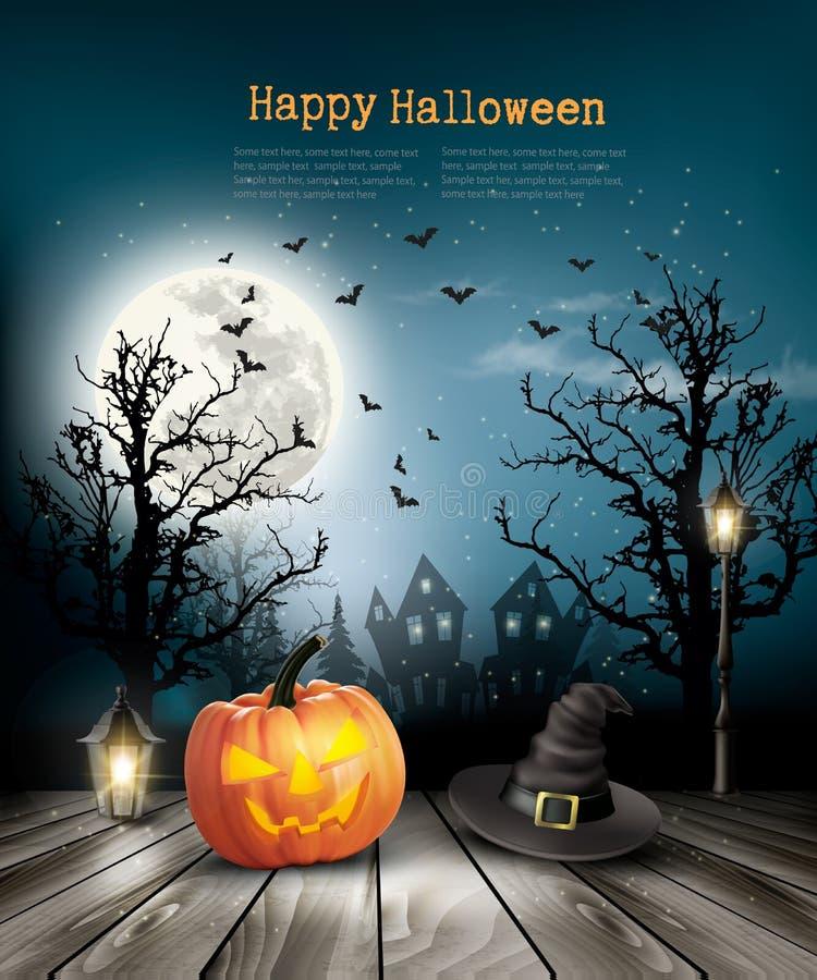 Straszny Halloweenowy tło z starym papierem ilustracji