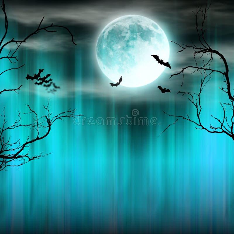 Straszny Halloweenowy tło z starymi drzewo sylwetkami ilustracja wektor