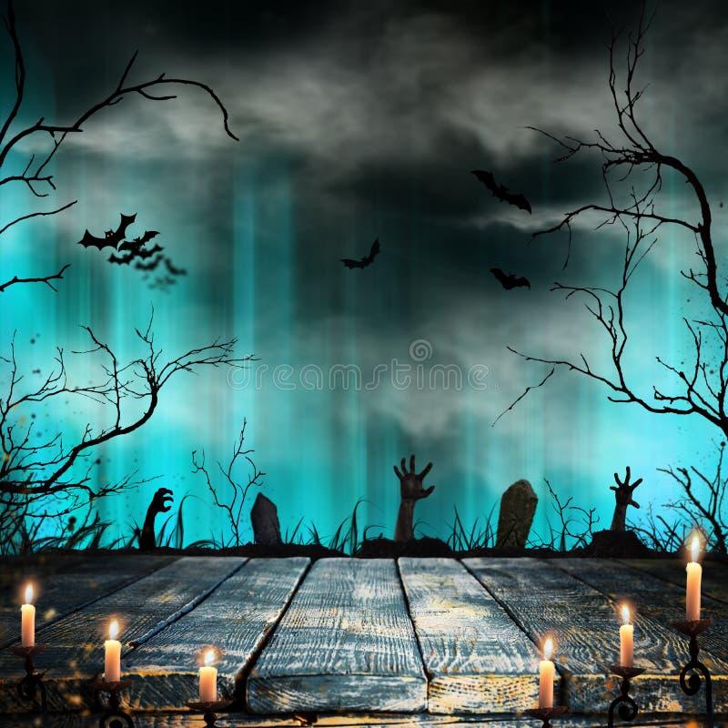 Straszny Halloweenowy tło z starymi drzewo sylwetkami royalty ilustracja