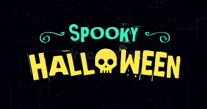 Straszny Halloweenowy wektorowy ilustracyjny sztandar z ciemnym tłem kreatywnie pojęcie projekt obraz stock