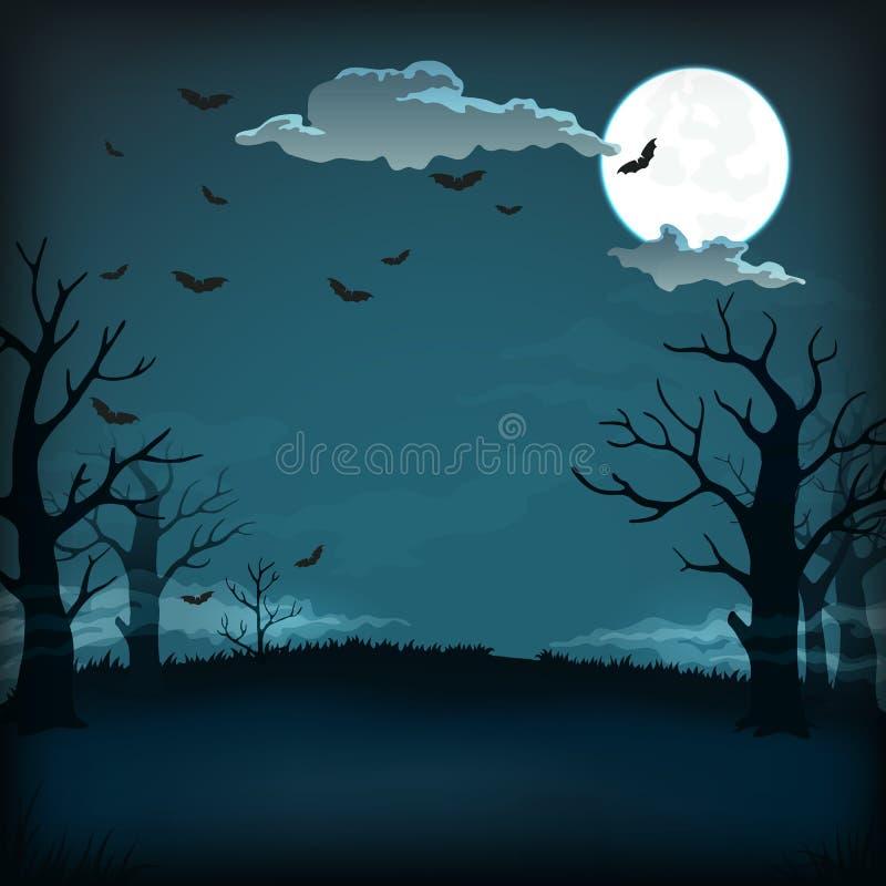 Straszny nocy tło z księżyc w pełni, chmurnieje, nietoperze, nadzy drzewa i zmrok, - niebieskie niebo ilustracji