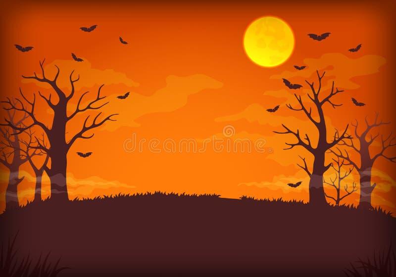 Straszny pomarańcze, purpur nocy tło z i, royalty ilustracja