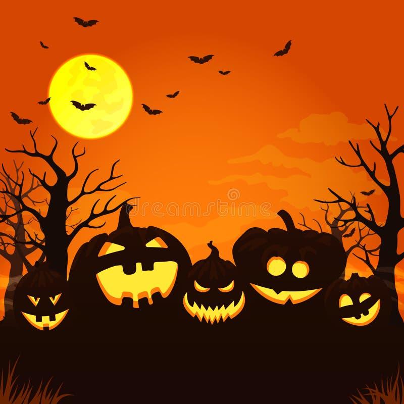 Straszny pomarańczowy nocy tło z księżyc w pełni, chmurnieje, nietoperze, nadzy drzewa i pięć rozjarzeni bani, ilustracji