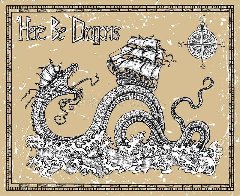 Straszny smok i statek z kompasem, morze falami Tutaj i tytułem, Byliśmy smokami royalty ilustracja
