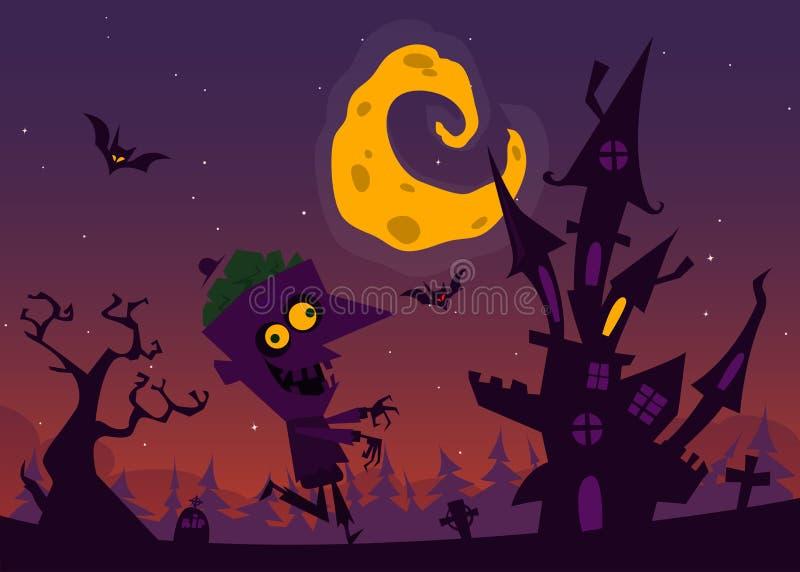 Straszny stary nawiedzający dom z duchami Halloweenowy kreskówki tło również zwrócić corel ilustracji wektora ilustracji