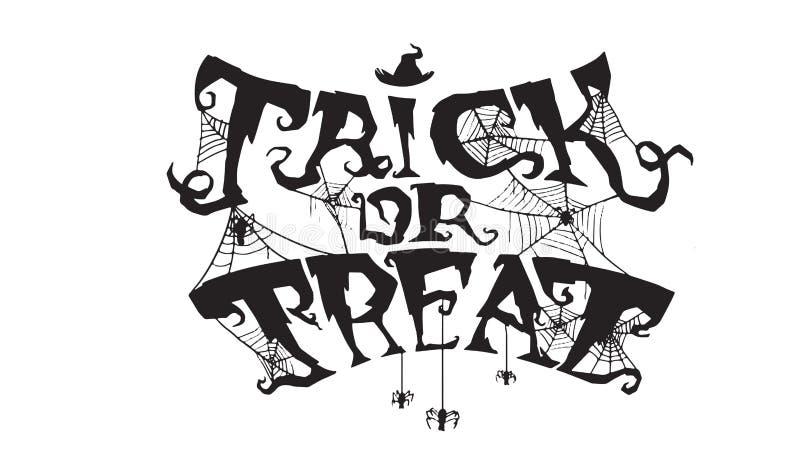 Straszny trikowy lub funda tekst z pająk siecią odizolowywającą na białym bac royalty ilustracja