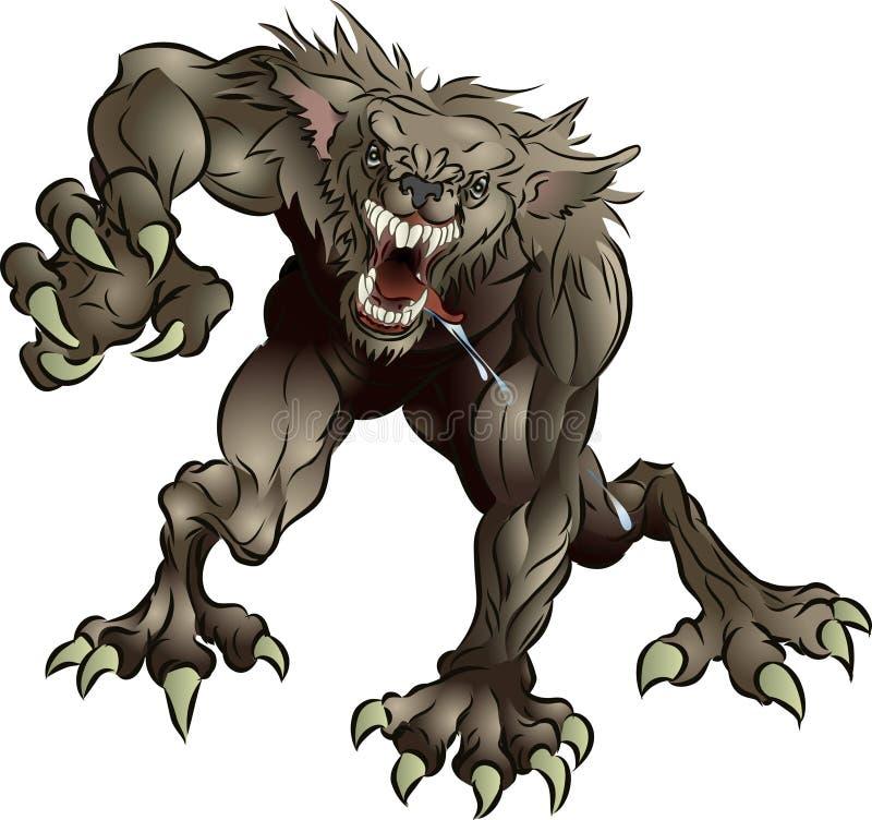straszny wilkołak warkliwy ilustracja wektor