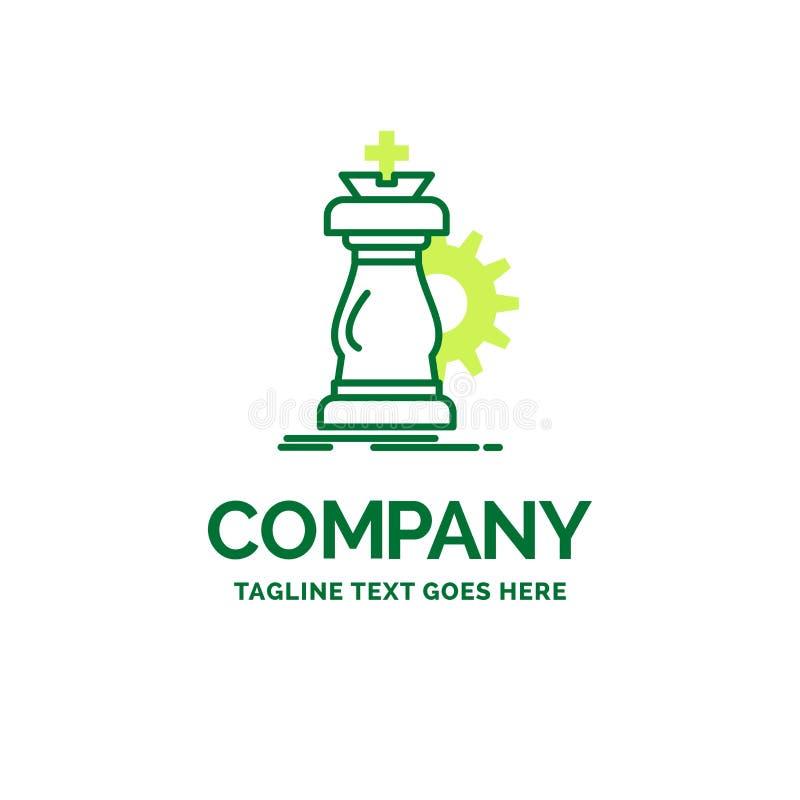 stratégie, échecs, cheval, chevalier, templ plat de logo d'affaires de succès illustration stock