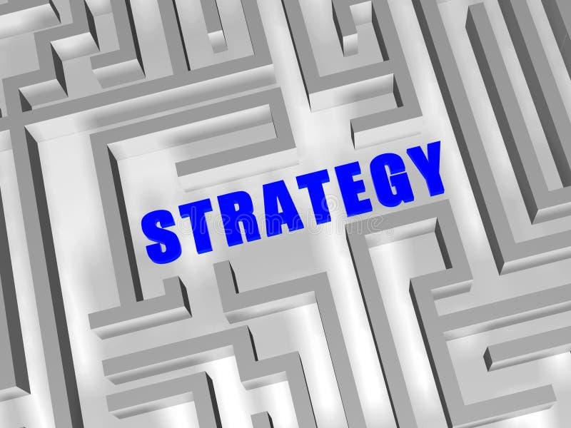 Stratégie bleue dans le labyrinthe illustration stock
