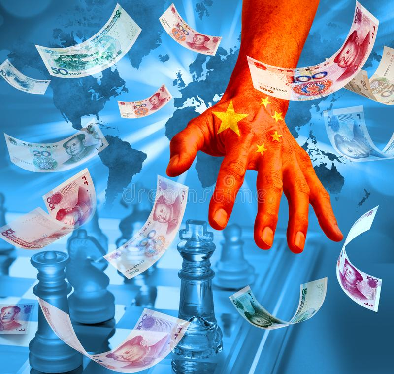 Stratégie chinoise d'échecs d'affaires d'argent de la Chine image libre de droits