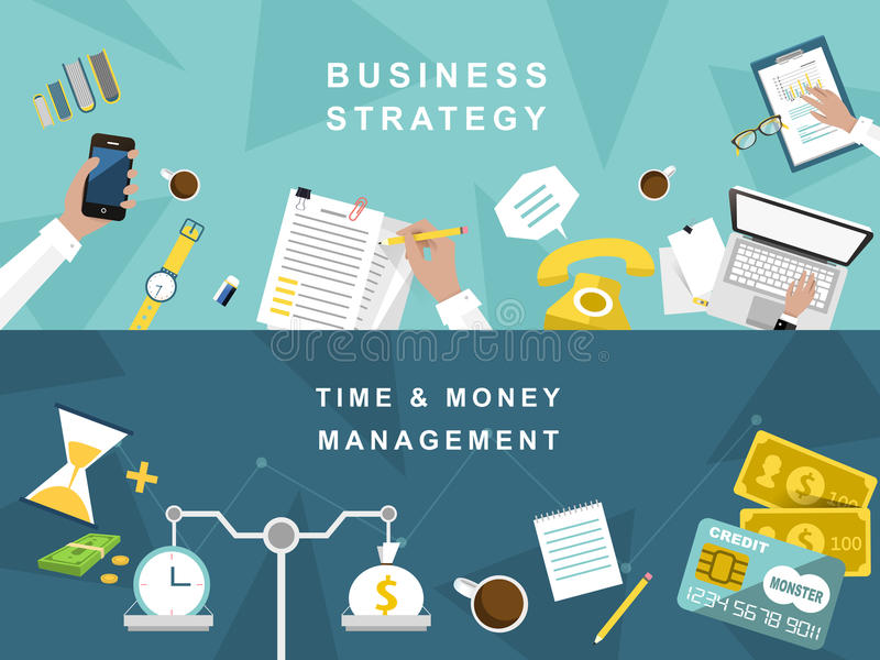 Stratégie commerciale et processus créatif dans la conception plate illustration stock