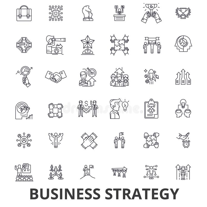 Stratégie commerciale, plan d'action, affaires, concept de stratégie, vente, ligne icônes de vision Courses Editable plat illustration stock