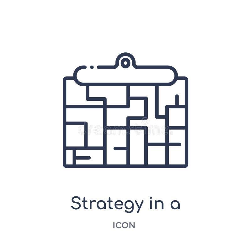 stratégie dans une icône de labyrinthe de la collection de démarrage stategy et de succès d'ensemble Ligne mince stratégie dans u illustration libre de droits