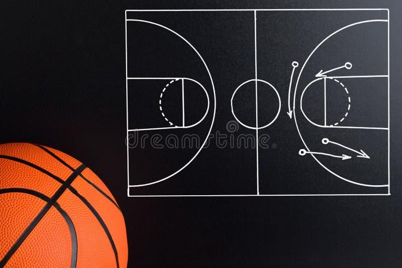 Stratégie de jeu de basket-ball dessinée sur un panneau de craie photographie stock