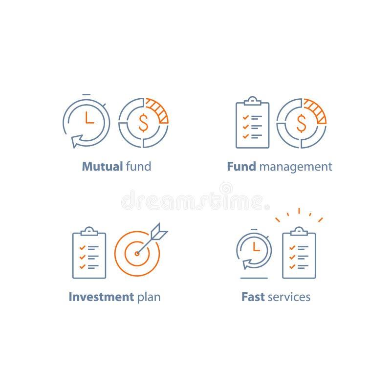 Stratégie de placement, solution de finances, plan d'action, gestion des projets, relevé, bref rapport, service rapide illustration de vecteur