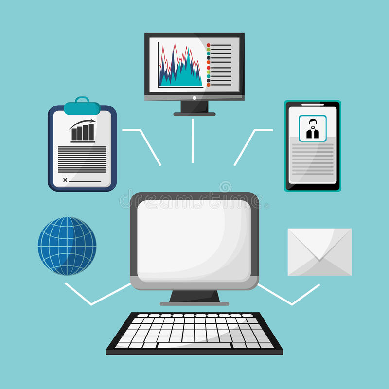 Stratégie de profil de globe de courrier électronique Internet d'ordinateur illustration de vecteur