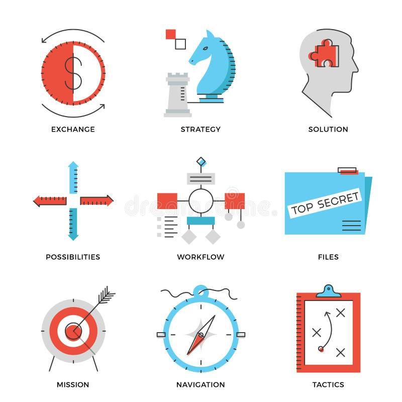 Stratégie et ligne icônes de la tactique réglées illustration de vecteur