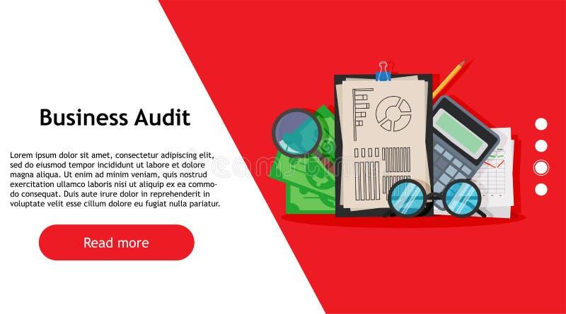 Stratégie financière de calculatrice d'audit d'affaires Service de vecteur d'équilibre de comptabilité Rapport de directeur de te illustration de vecteur