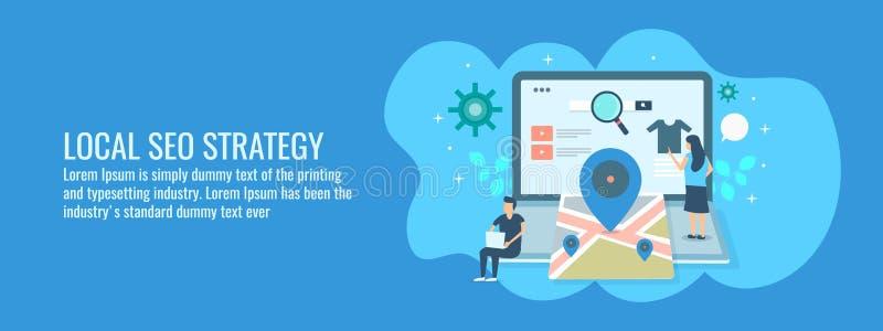 Stratégie locale de seo, clients recherchant la carte d'itinéraire sur le moteur de recherche, application locale de guide d'affa illustration libre de droits