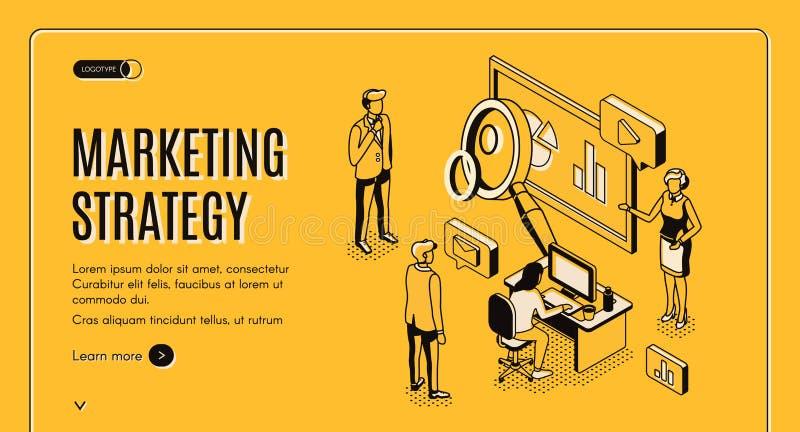 Stratégie marketing, société analytique financière illustration stock