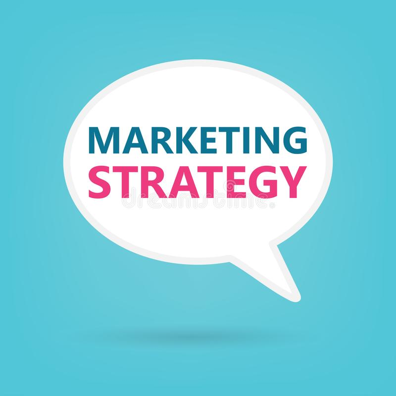 Stratégie marketing sur une bulle de la parole illustration stock