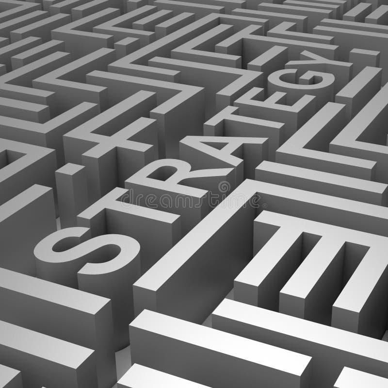 Stratégie Word en Maze Shows Blueprint Or Plan illustration stock