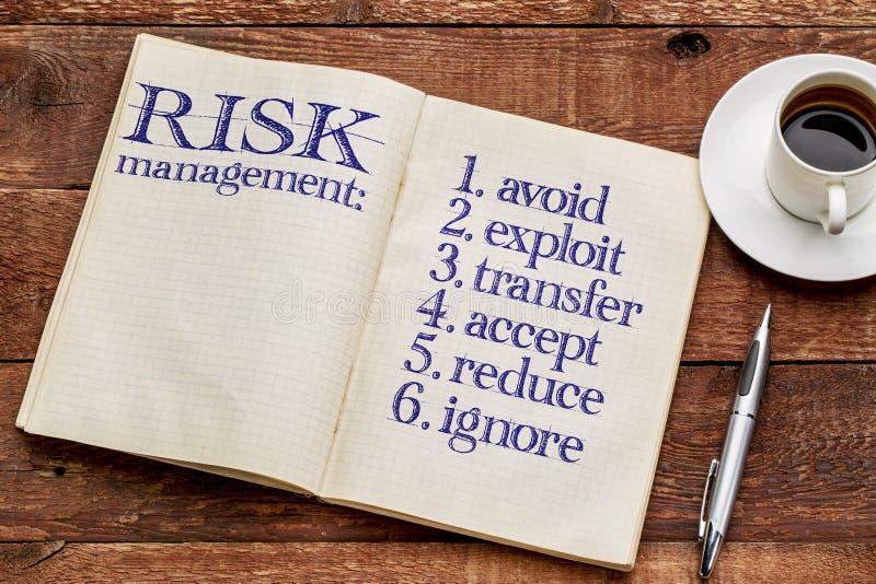 Stratégies de gestion des risques dans le carnet photographie stock libre de droits