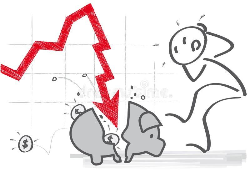 Strata gotówka - zysku niepowodzenie ilustracja wektor