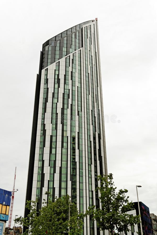 The Strata, nicknamed `Razor`, a 148-metre, 43-storey building at Elephant and Castle. LONDON, ENGLAND - JULY 8, 2016: The Strata, nicknamed `Razor`, a 148-metre stock image