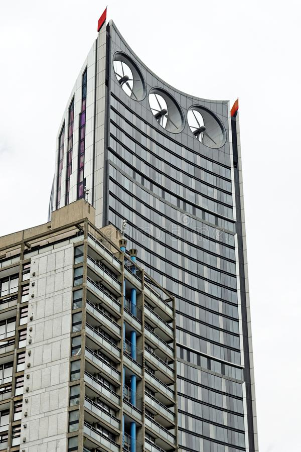 The Strata, nicknamed `Razor`, a 148-metre, 43-storey building. At Elephant and Castle in the London Borough of Southwark next to 1965 Draper house stock image