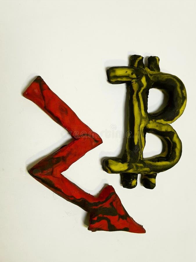 strata w wartości bitcoin, plastelin postacie zdjęcie royalty free