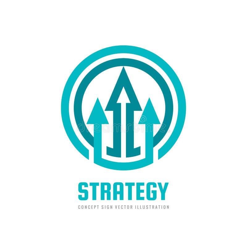 Strategi - abstrakt begreppsillustration Utvecklingstecken Pilar i cirkelform Symbol för affärstrendsymbol vektor för bild för de royaltyfri illustrationer