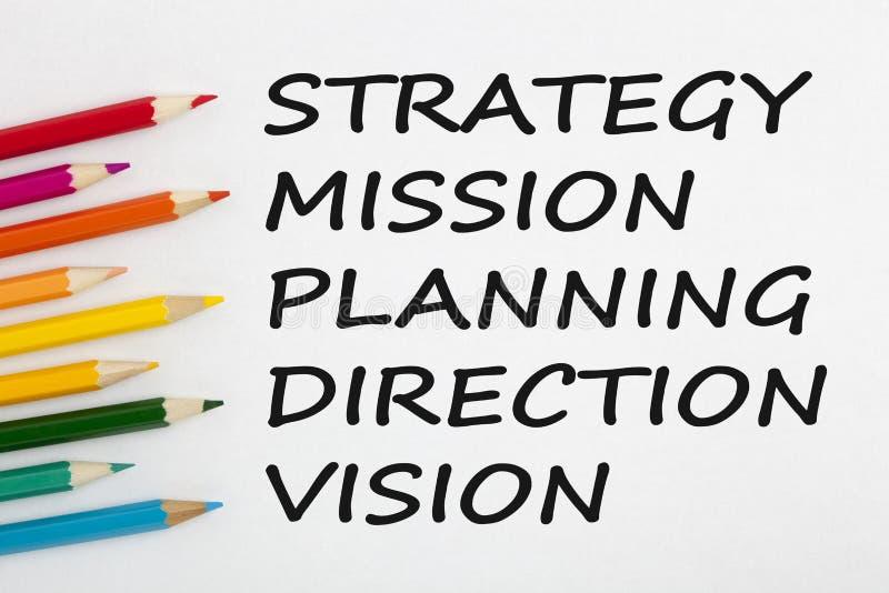 Strategi-, beskickning-, planläggnings-, riktnings- och visionbegrepp arkivbilder