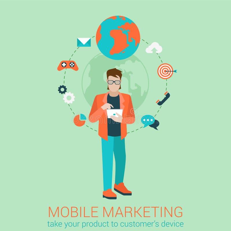 Strategi för affär för marknadsföring för plan stilvektor infographic mobil stock illustrationer