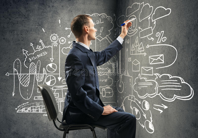 Strategi för affärsmanteckningsaffär arkivfoto