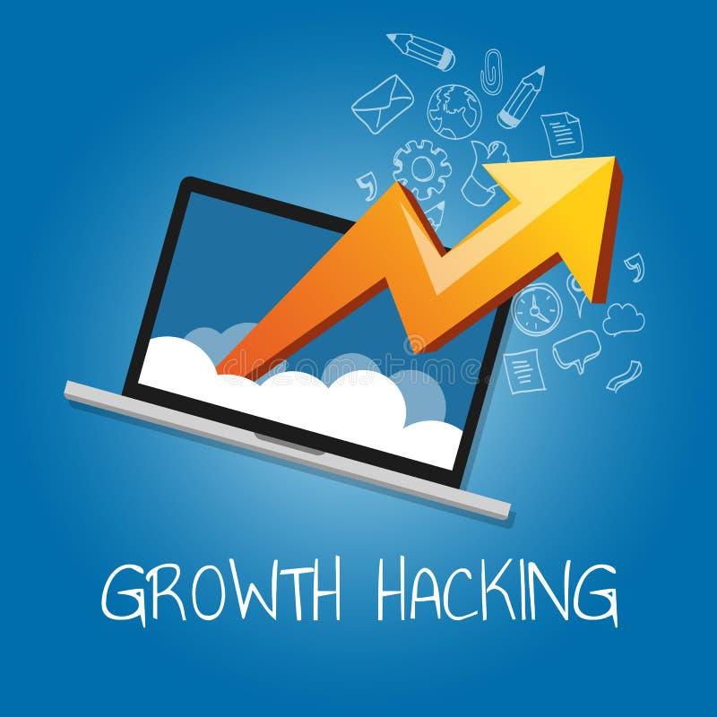 Strategi för företag för för tillväxtdataintrångvägar hur teknologi man förbättrar användare- och intäktnummer vektor illustrationer