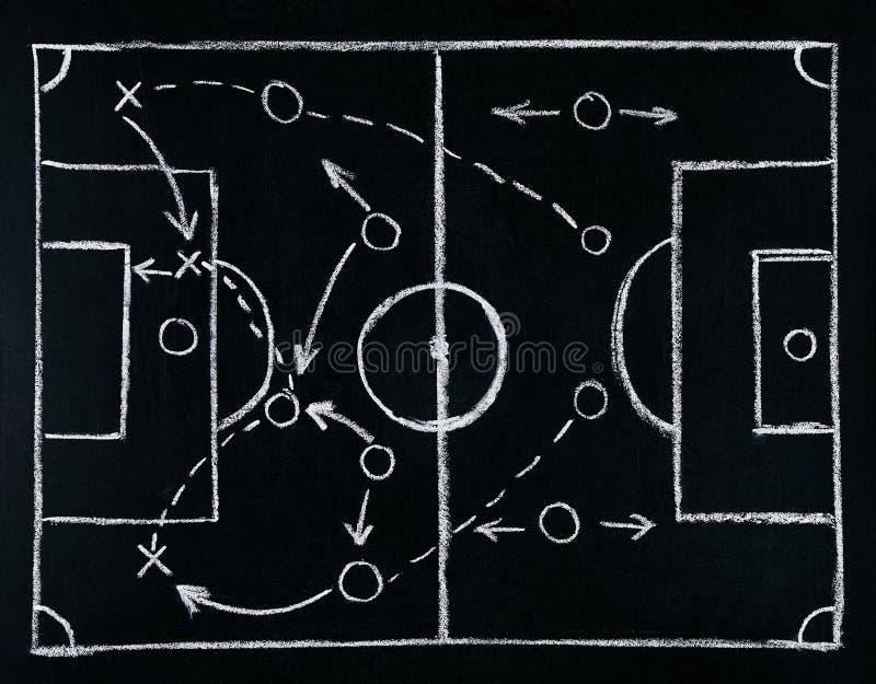 Strategi för fotbolllektaktik som dras med vit krita på kritabräde royaltyfria bilder