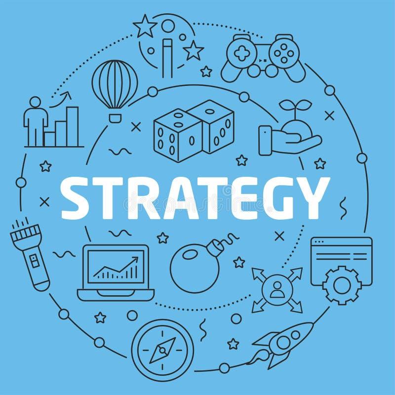 Strategi för illustration för Blue Line lägenhetcirkel stock illustrationer